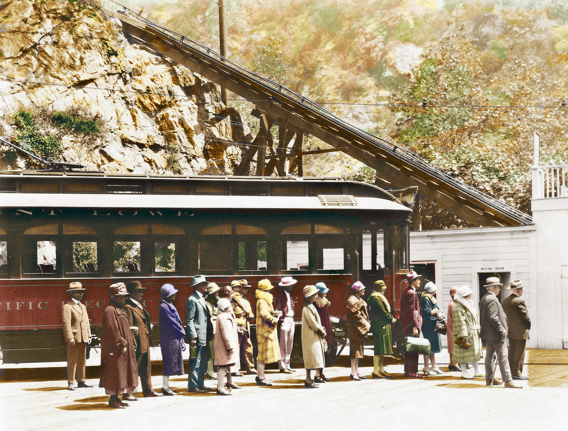 Here is a hand-colored image that was originally shot by Charles Lawrence, the official photographer of the Pacific Electric Railway, colorized by San Diego resident and railfan Bjorn Palenius. He has enhanced this image for everyone to enjoy, and we are grateful for his efforts and contributions. Charles Lawrence Photo, Bjorn Palenius Colorization