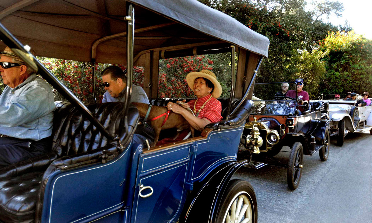 Several pre-1915 vintage automobiles assembled in Altadena, Saturday, October 22, 2011, to make a road trip up the Mount Wilson Toll Road two and a half miles up to Henninger Flats. (Correspondent photo by Mike Mullen)